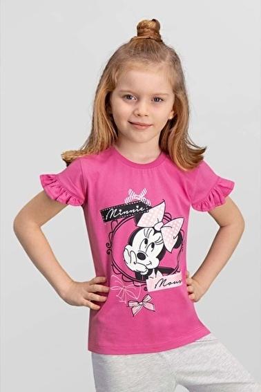 Mickey Mouse Mickey & Minnie Mouse Lisanslı Açık Gri Kız Çocuk T-Shirt Pembe